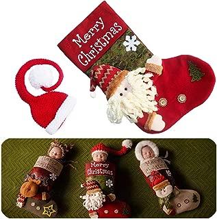 Newborn Baby Christmas Photography Props Christmas Costume Stocking Sleeping Bag & Xmas Santa Hat 2 PCS