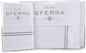 Sferra Grande Hotel Sheet Set - Queen - White/Silver