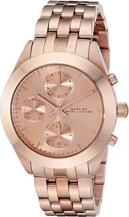 Orologio donna - marc jacobs women`s 36mm chronograph gold steel bracelet & case watch mbm3394