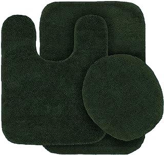 Elegant Home Goods Solid Color 3 Piece Bathroom Rug Set Bath Rug, Contour Mat, Lid Cover Non-Slip with Rubber Backing Solid Color New #6 (Hunter Dark Green)