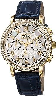 ساعة يد نسائية بقرص ماذر اوف بيرل من بورغي بسوار جلدي - BUR087BU، عرض انالوج، حركة كوارتز سويسري