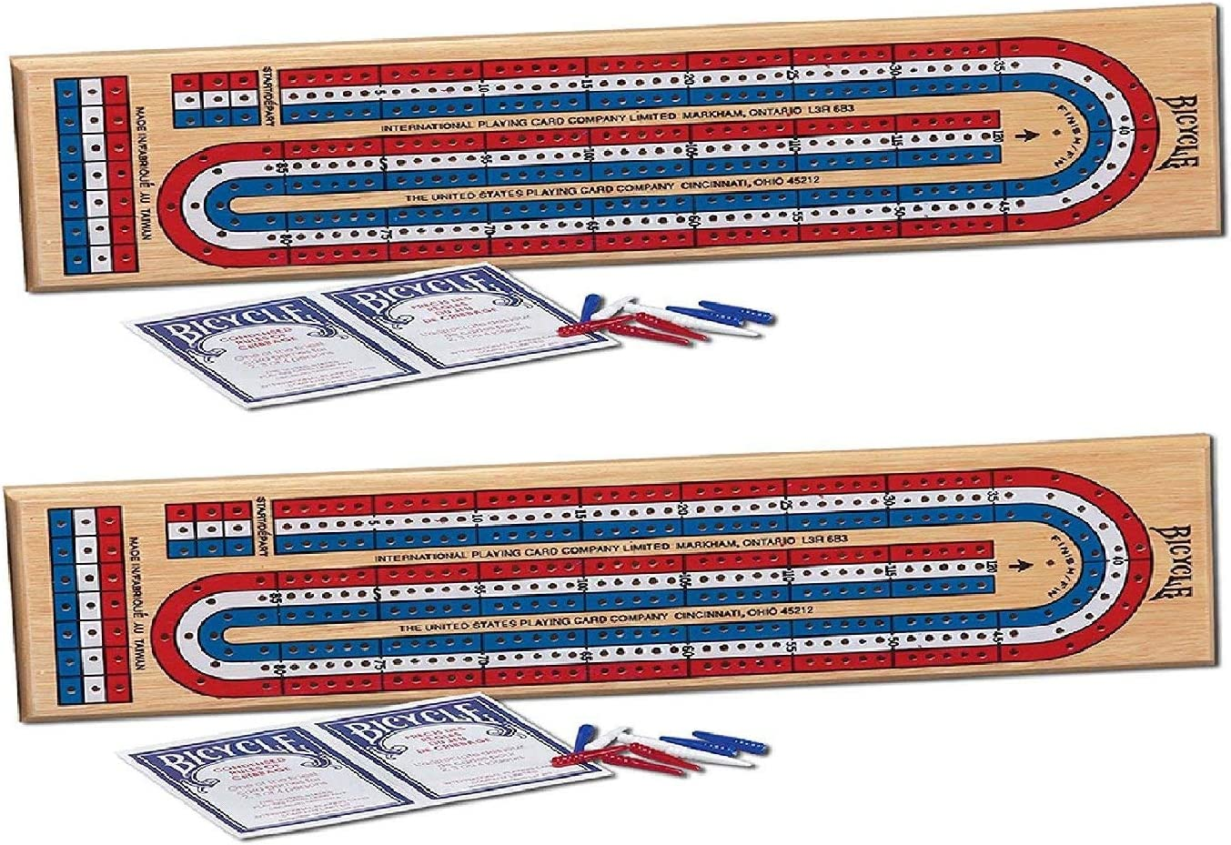 Springbok Bicycle 3-Track Color Coded Wooden Cribbage Game