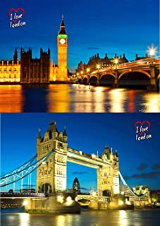2 London Bridges Day and Night - 3D Animated Lenticular Postcard - 4x6 Greeting Card