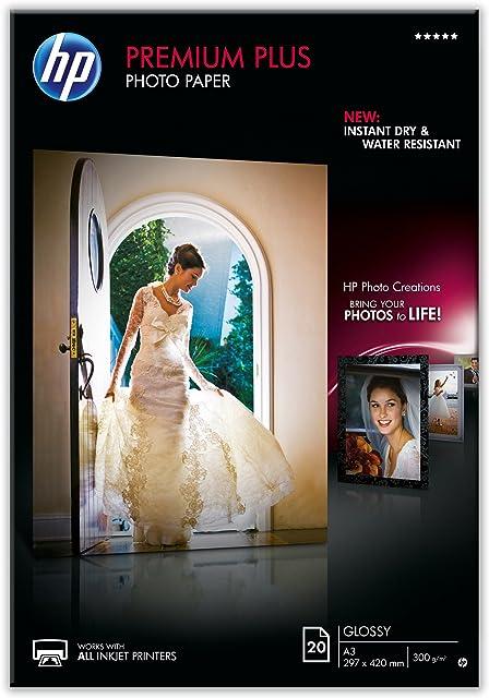 HP Premium Plus CR675A - Papel fotográfico brillante (20 hojas A3)