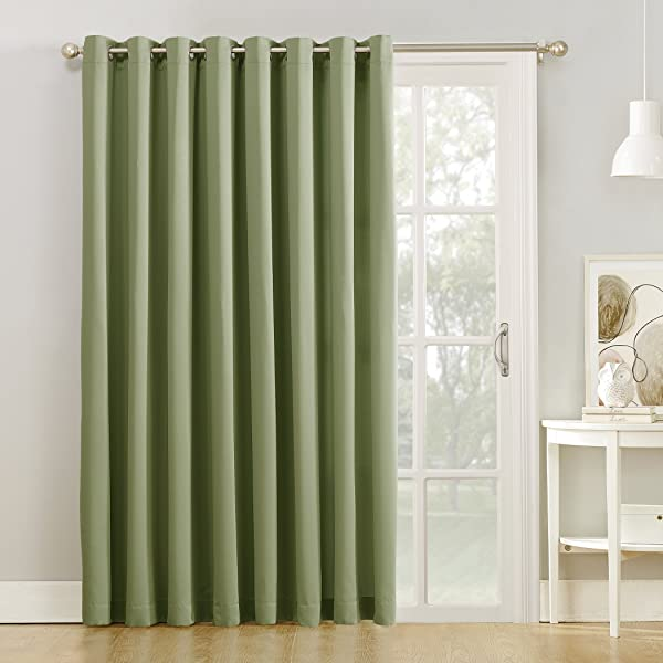 Sun Zero Barrow Extra Wide Energy Efficient Sliding Patio Door Curtain Panel With Pull Wand 100 X 84 Sage Green