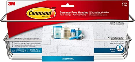 Command Shower Caddy, Satin Nickel, 1-Caddy, 1-Prep Wipe, 4-Large Water-Resistant Strips (BATH31-SN-ES)