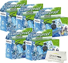 Fujifilm Quick Snap Waterproof 27 exposures 35mm Camera 800 Film, 1 Pack + Quality Photo Microfiber Cloth (5 Pack)