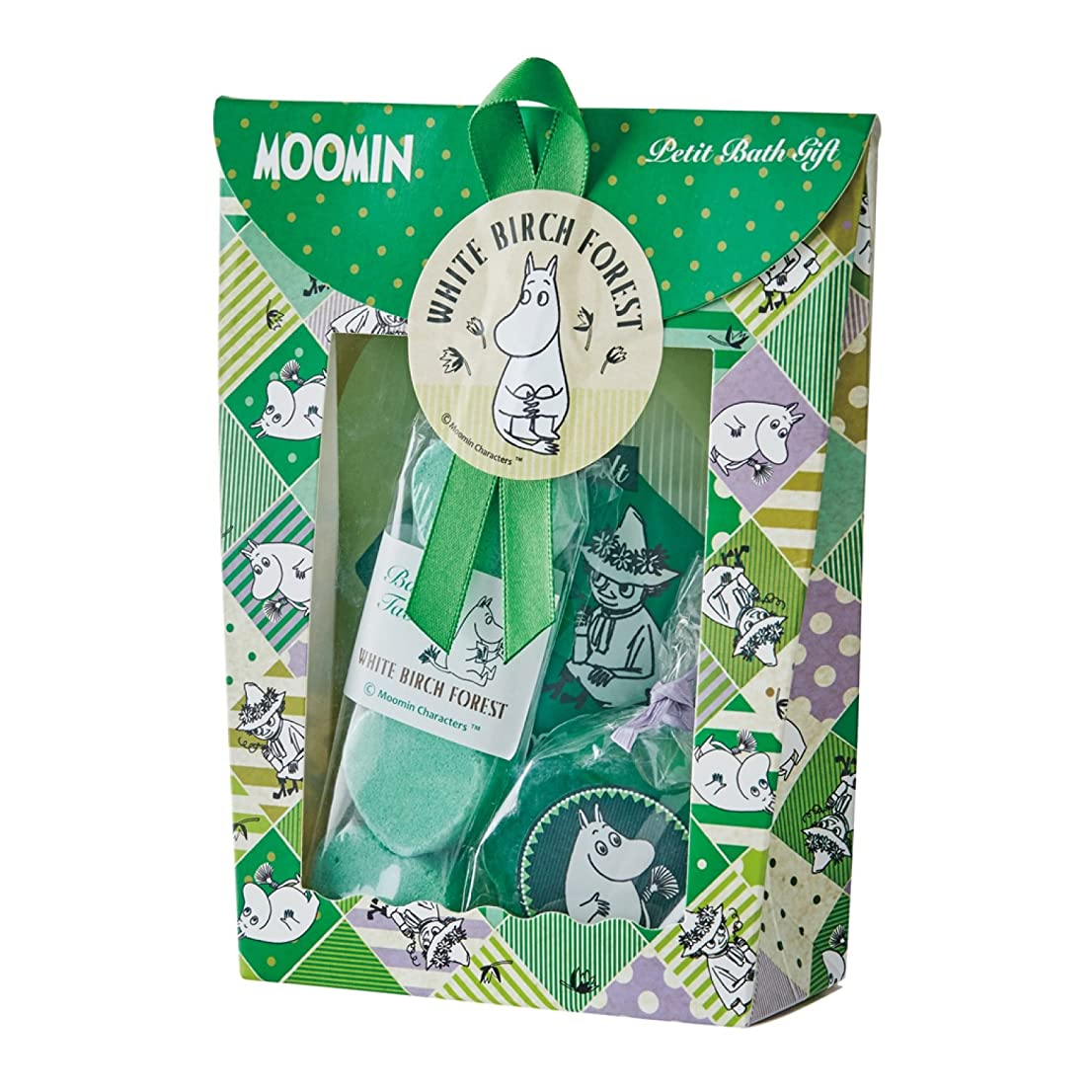 商品矩形スチュワーデスムーミン プチバスギフト しらかばの森 (MOOMIN グリーン調でウッディな香りのバスセット)
