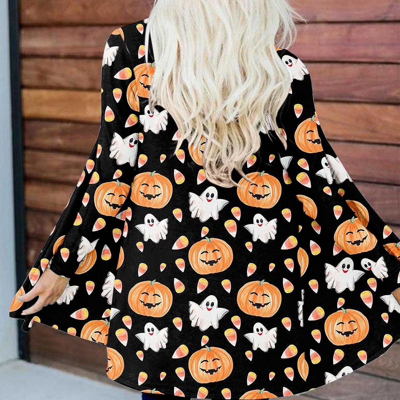 Halloween WomenHoodieswithZipper,Pullover Tops for Women,Watercolor Print Crewneck Sweatshirts Casual Long Sleeve Sweater Lightweight Blouses