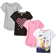 Amazon Brand - Spotted Zebra Little Girls' 4-Pack Short-Sleeve T-Shirts, Video UFO, Small (6-7)