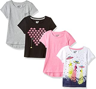 Spotted Zebra Girls' Toddler & Kids 4-Pack Short-Sleeve...