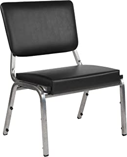 Flash Furniture HERCULES Series 1500 lb. Rated Black Antimicrobial Vinyl Bariatric Medical Reception Chair with 3/4 Panel Back