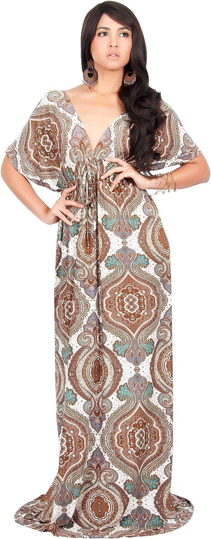 Koh Koh Womens Long Summer Kaftan Short Kimono Sleeve VNeck Casual Maxi Dress