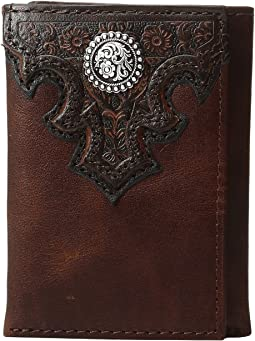 Overlay Scroll Concho Croc Embossed Trifold Wallet