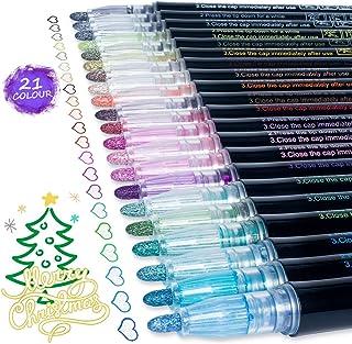 ست های خودکار Doodle Dazzle Markers: AKARUED 21 Colors Glitter Outline Markers Self-Outline Metallic Marker، Double Line Metallic Shimmer Marker Paint قلم برای نقاشی هنری ، طراحی ، نوشتن برای بزرگسالان ، کودک