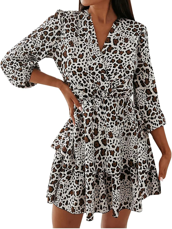 Maqroz Dresses for Women Fashion Casual V-Neck Printing Double Layer Ruffle Long Sleeve Slim Casual Loose Mini Dress Black