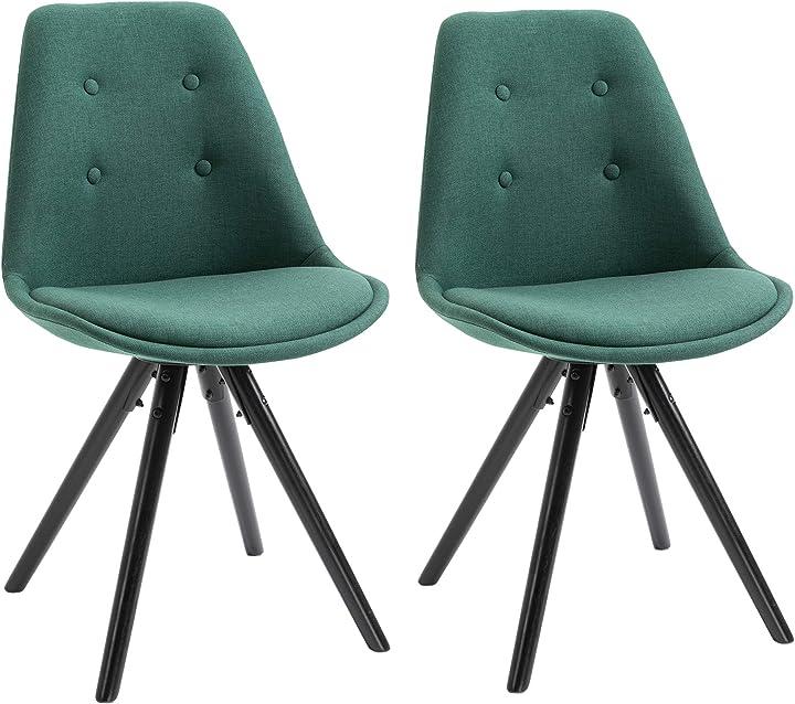 Set 2 sedie imbottite per sala da pranzo  in legno nero e lino verde, 48x56x87cm homcom IT835-226GN0631