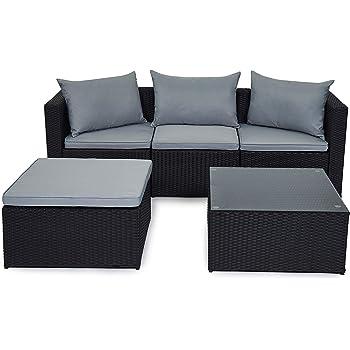 Evre Outdoor Rattan Garden Furniture Set Malaga Conservatory Patio Sofa Coffee Table Black Amazon Co Uk Garden Outdoors