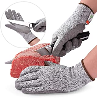 Prime Kitchen Cut Resistant Gloves PU coated. Food Grade Level 5-Safety for Cutting,  Slicing,  Wood Carving,  Whittling,  Handling,  Butchering,  Glass or Objects with Sharp Corners. (Small)