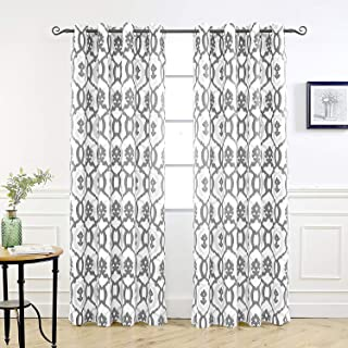 DriftAway Evelyn Thermal Room Darkening Grommet Unlined Window Curtains Ikat Floral Pattern Set of 2 Panels Each Size 52 Inch by 84 Inch Gray