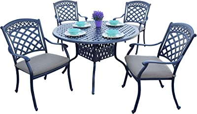 AC HOME & PATIO Cast Aluminum (5-Piece) Set with Cushions, 48'' Round Dining Table, Antique Bronze