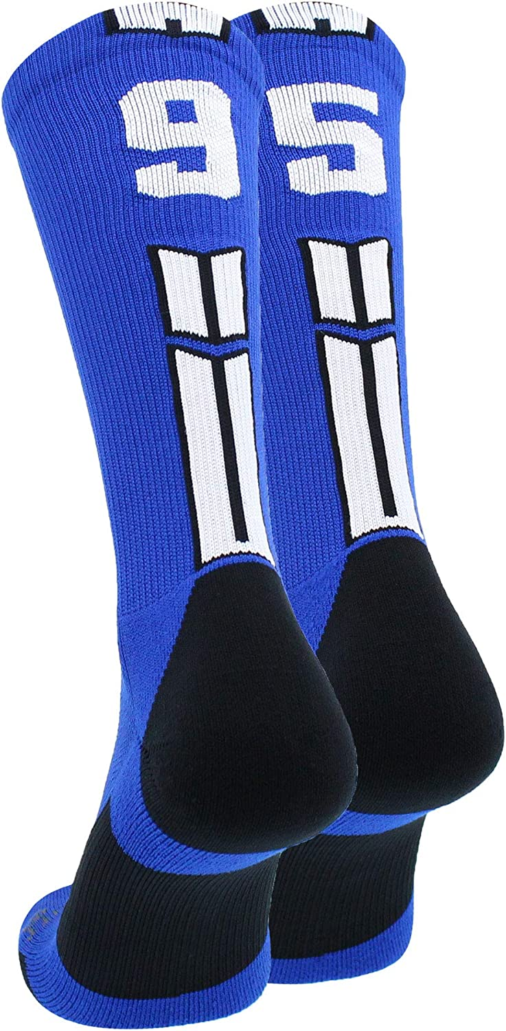 MadSportsStuff Royal Player ID Custom Number Crew Socks for Basketball Lacrosse Volleyball Boys and Girls
