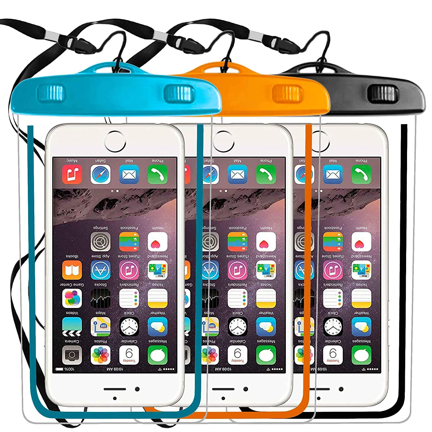 3 Pack Waterproof Phone Case, Universal Phone Pouch Dry Bag Compatible with Phone iPhone X XS MAX XR 8 7 6 Plus 6/6S Plus,6 6S SE,Galaxy s9 S8 S7 Edge Diagonal up 6