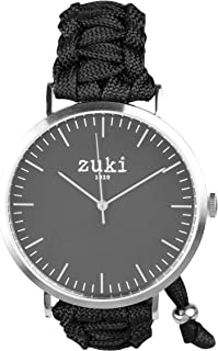 Handcrafted Watch with Black Paracord Bracelet Band – Swiss Quartz Movement – Men's and Women's – Casual and Fashion Wristwatch – Brushed Silver with Black – By zuki
