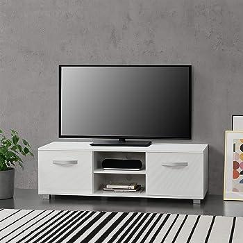 COMIFORT Mueble de TV - Mesa de Salón Moderno, Puerta con Sistema Click, Estante de Cristal Templado, Muy Resistente, Fabricado en Europa, Color Blanco y Roble: Amazon.es: Hogar