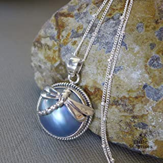 Dragonfly Purple Grey Mabe Pearl Bali Sterling Silver Pendant 20 Inch Necklace JD132