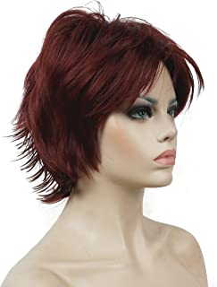 Lydell Short Layered Shaggy Wavy Full Synthetic Wigs #131 Burgundy Red