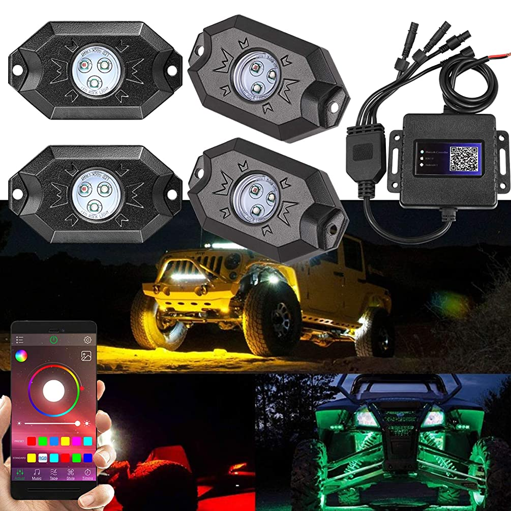 RGB LED Rock Light, Moso LED 4 RGB LED Pods Multicolor Neon Rock Light Kit with Bluetooth Remote Control Muiti-Modes Underglow Rock Rail Lights for Jeep ATV SUV Off-Road Truck Boat Marine