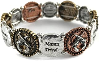 Mama Tried Pistol Gun Silver Copper Patina Color Stretch Bracelet