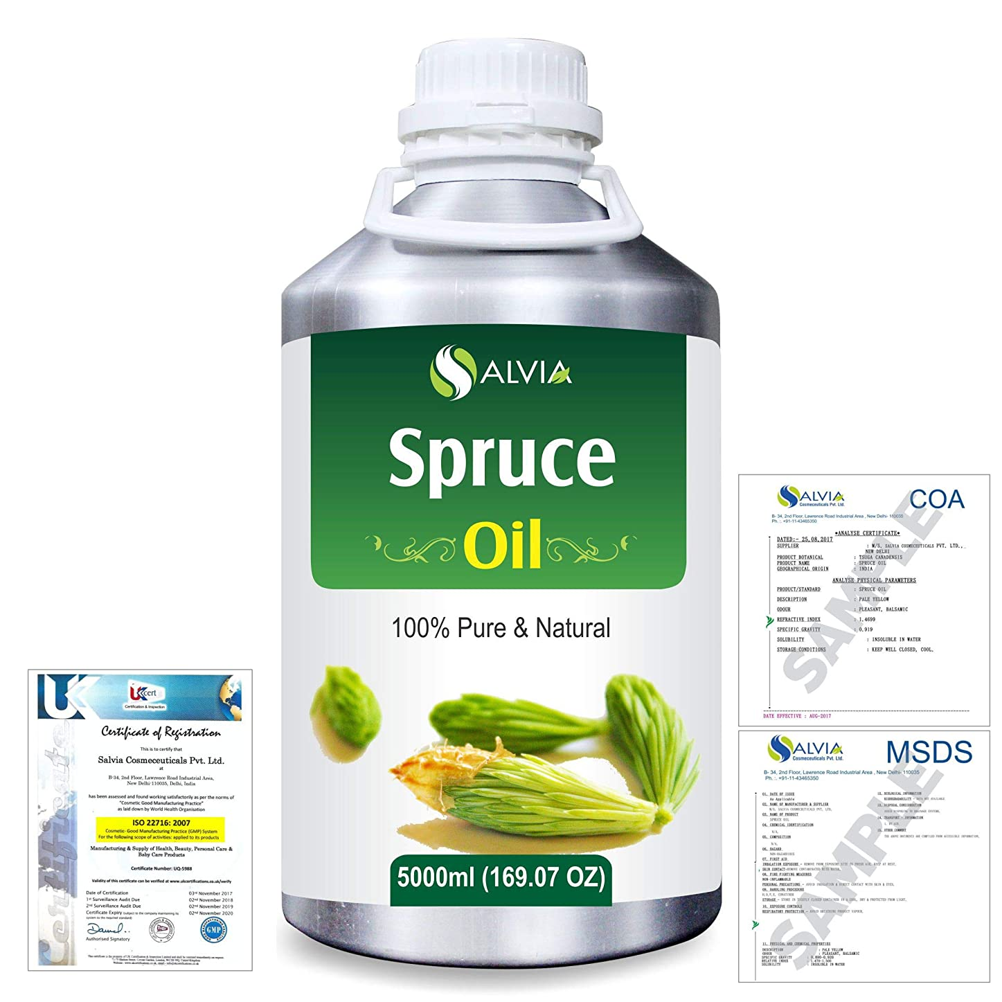 カプラー保存精神医学Spruce (Tsuga Canadensis) 100% Natural Pure Essential Oil 5000ml/169fl.oz.