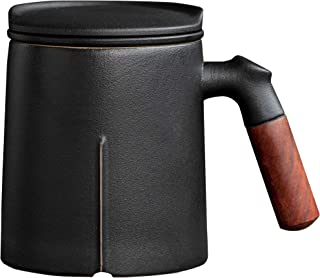 DehuaYao Wooden Handle Tea Cup with Infuser and Lid,Ceramic Tea Mugs 300 ml (Black)
