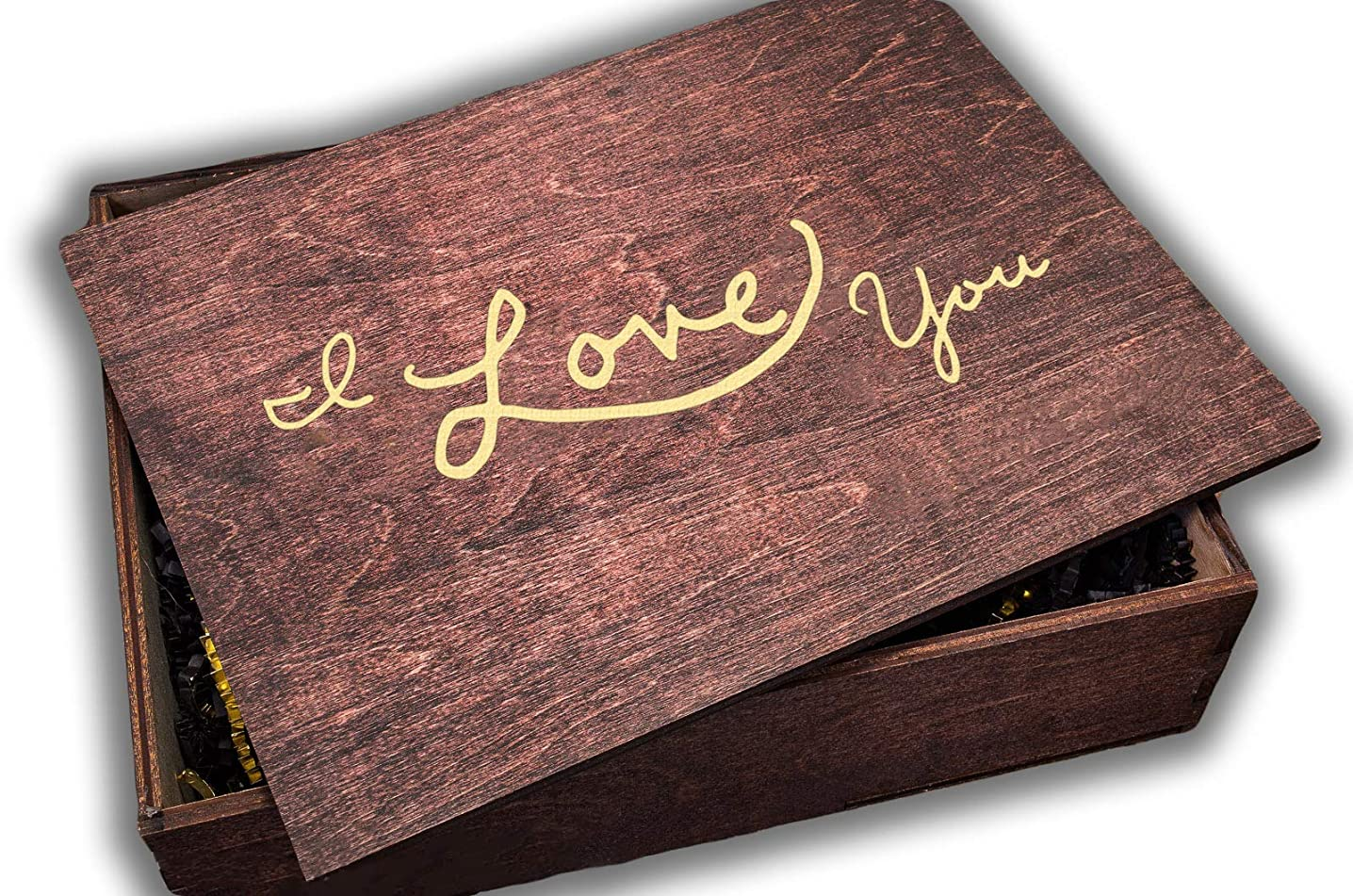 I Love You Wooden Gift Boxes with Lids, Great Gifts for Him or Her, Memory Keepsakes Box - Large Cigar Box