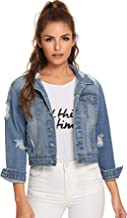 Floerns Women's Long Sleeve Basic Button Down Wash Denim Jean Jacket