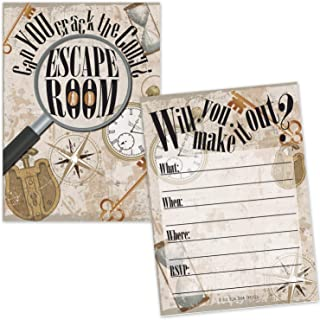 Escape Room Invitations (20 Count with Envelopes) - Mystery Puzzle Clue Party Game Invites for Kids and Adults - Scavenger Hunt