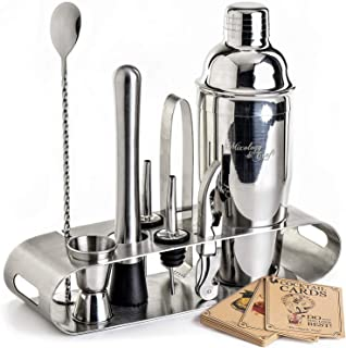 Cocktail Shaker Set: Professional Bar Tools Set Incl. Martini Shaker and Muddler Inside an Elegant Stand - Perfect Home Bartending Kit for an Awesome Drink Mixing Experience - Exclusive Recipes Bonus