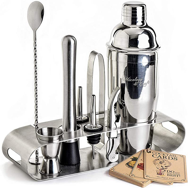 Cocktail Shaker Set Professional Bar Tools Set Incl Martini Shaker And Muddler Inside An Elegant Stand Perfect Home Bartending Kit For An Awesome Drink Mixing Experience Exclusive Recipes Bonus
