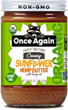 Once Again Organic Creamy Sunflower Hemp Butter with Hemp Oil, 16oz - Lightly Salted & Sweetened - Peanut Free, USDA Organ...