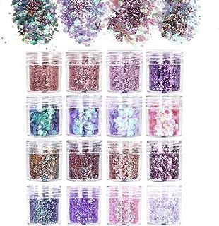 URAQT 16-delige dikke glitter schoonheidsset voor lichaam, wangen en haar, festival en feest, gezicht en nagels, make-up, A