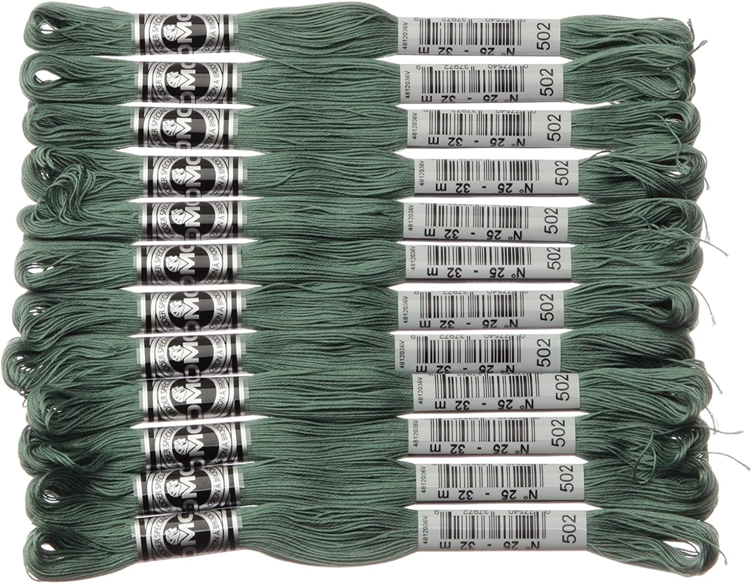[12 Hank Cored] DMC Abu Loader Embroidery Thread   107 25 Fastest 502 DMC10725B   502