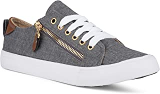 Twisted Women's KIX Canvas Sneakers with Decorative Zippers