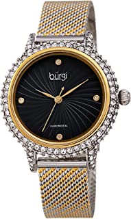 Swarovski Crystal Studded Case Watch - Embossed Whirlwind Patterned Dial with 4 Hand-Applied Genuine Diamond Markers On Comfortable Mesh Bracelet - BUR250