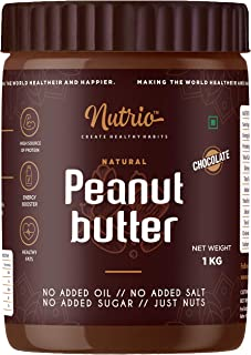 Nutrio Chocolate Peanut Butter 1kg (Creamy) (Chocolaty Flavor) | Made with Roasted Peanuts, Cocoa Powder & Choco Chips | V...