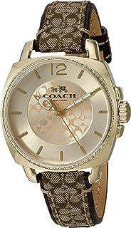 Women's 14502509 Boyfriend Signature Fabric Leather Gold Tone Glitz Watch