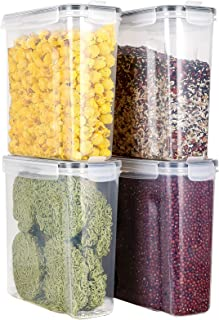 Gladpaws Cereal Storage Container Set, BPA Free Plastic Airtight Food Storage Containers 4L 135.2 fl oz for Cereal, Snacks...