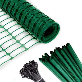 Safety Fence + 25 Steel Plant Stakes, Extra Strength Mesh Snow Fencing, Temporary Green Plastic Garden Netting 4x100 Feet ...