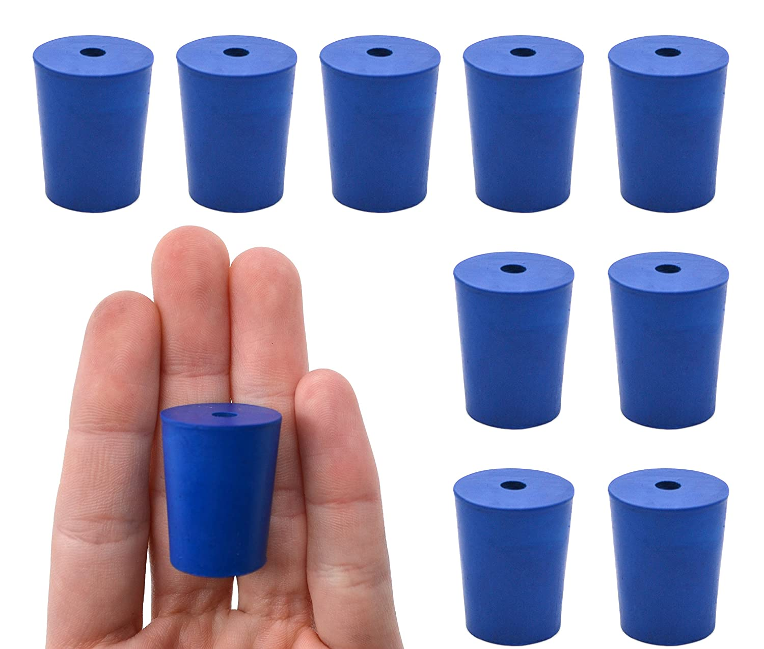 10PK Neoprene Stoppers 1 Hole New product Memphis Mall type - 20mm Bottom Blue 17mm Size: